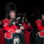 The pipers leading the procession to the stage